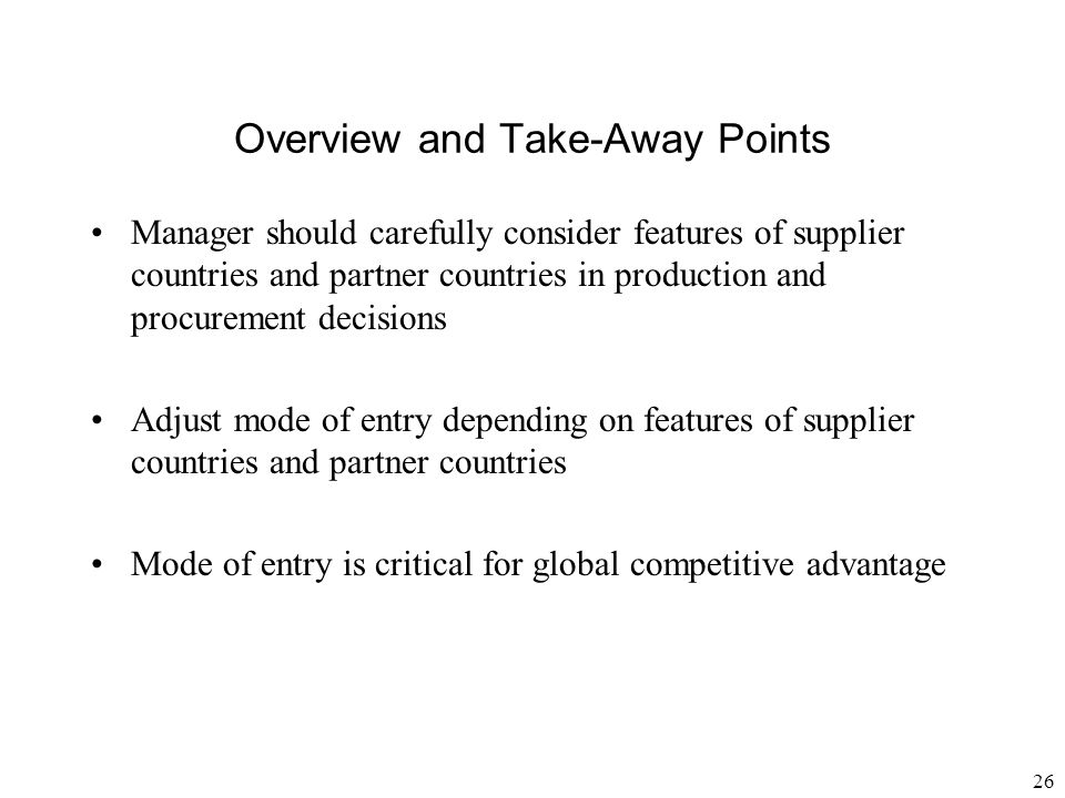 Overview and Take-Away Points