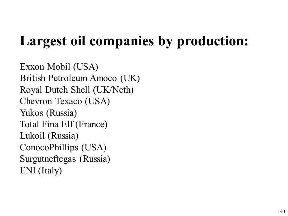 Largest oil companies by production: