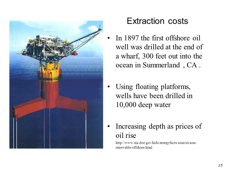 Extraction costs In 1897 the first offshore oil well was drilled at the end of a wharf, 300 feet out into the ocean in Summerland , CA .