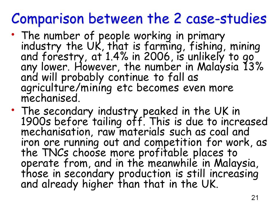 Comparison between the 2 case-studies