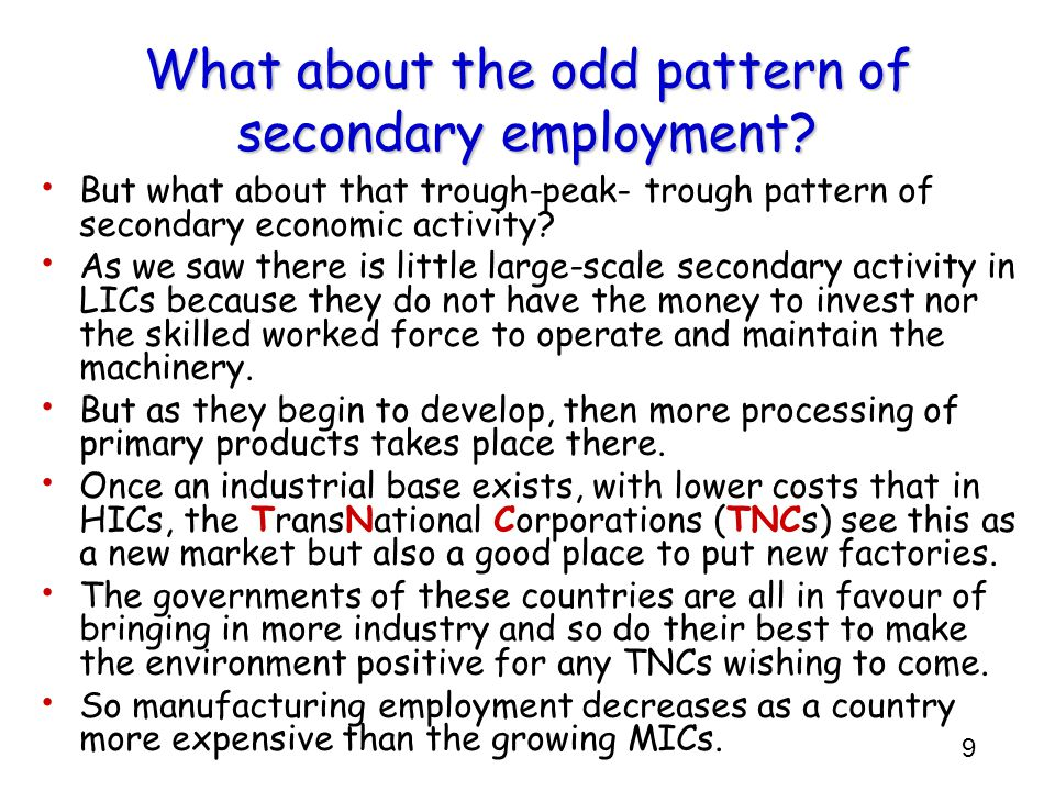 What about the odd pattern of secondary employment