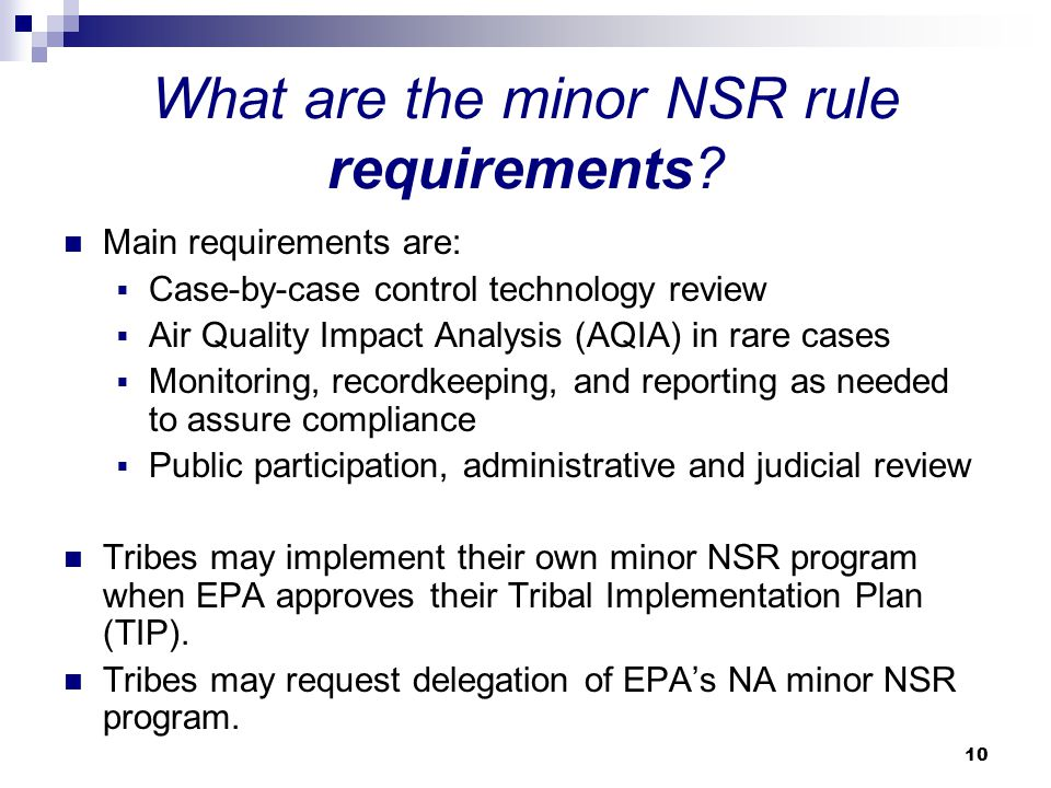 What are the minor NSR rule requirements