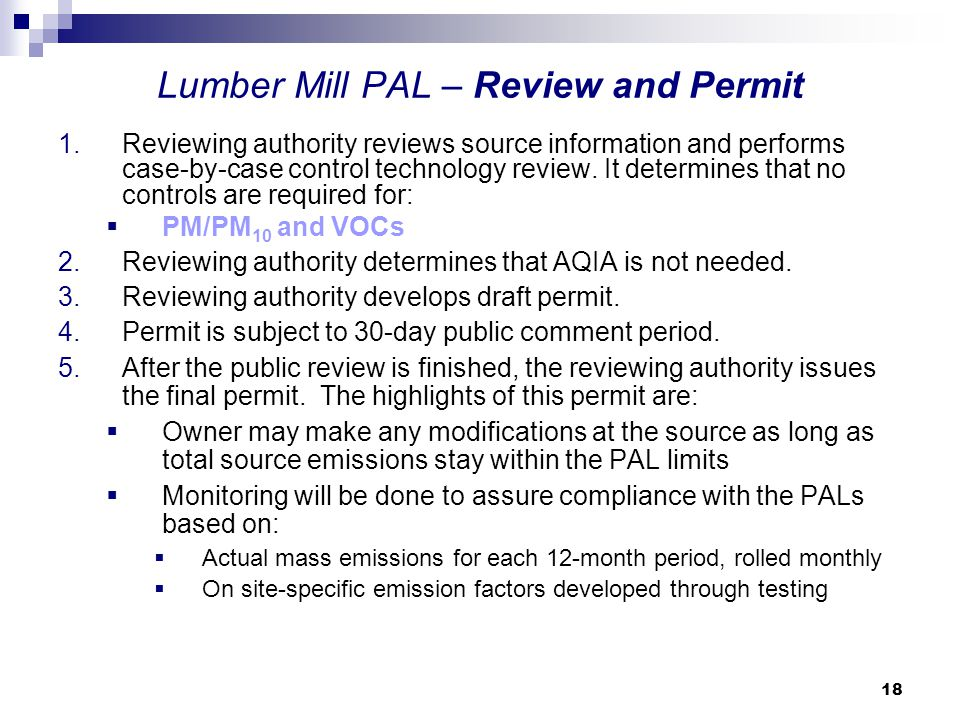 Lumber Mill PAL – Review and Permit