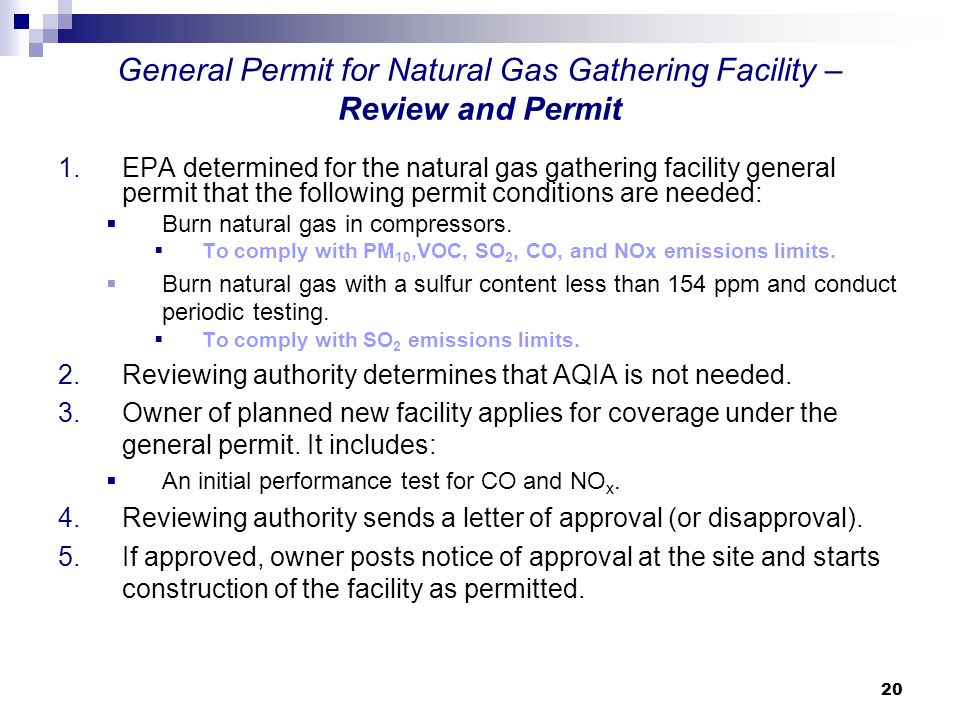 General Permit for Natural Gas Gathering Facility – Review and Permit