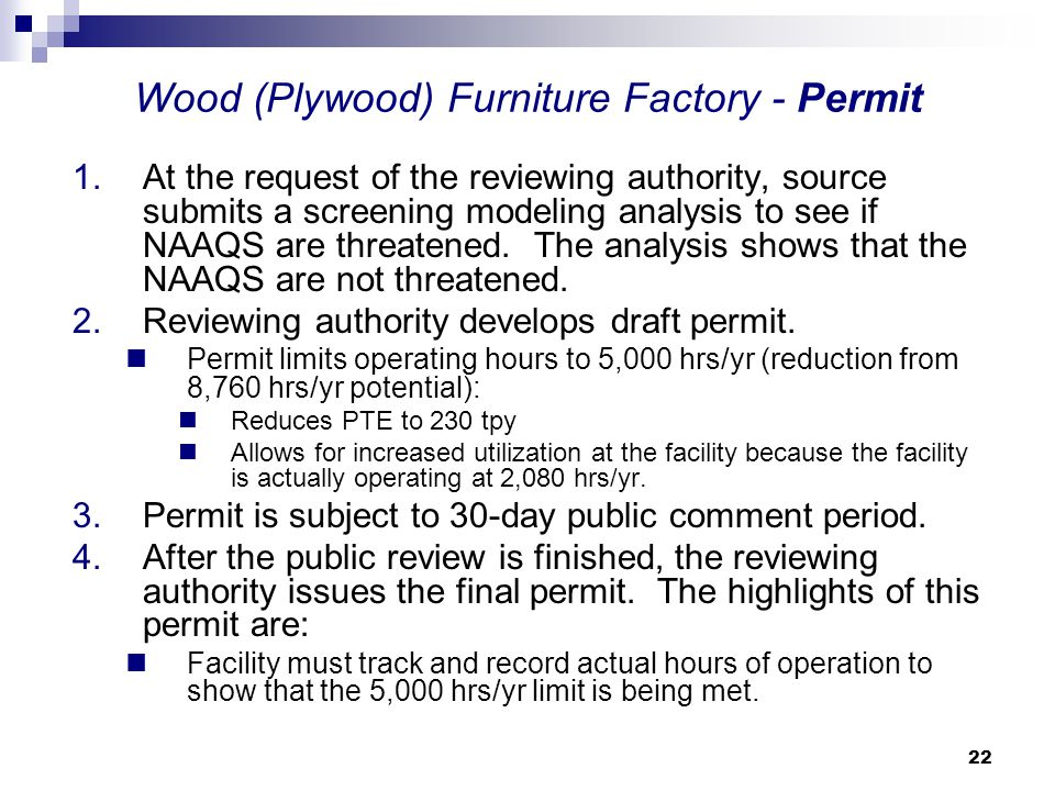 Wood (Plywood) Furniture Factory - Permit