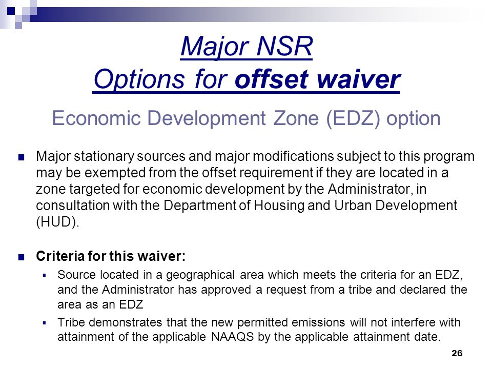 Major NSR Options for offset waiver