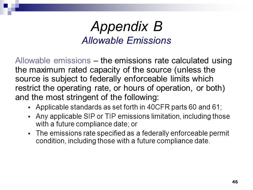 Appendix B Allowable Emissions