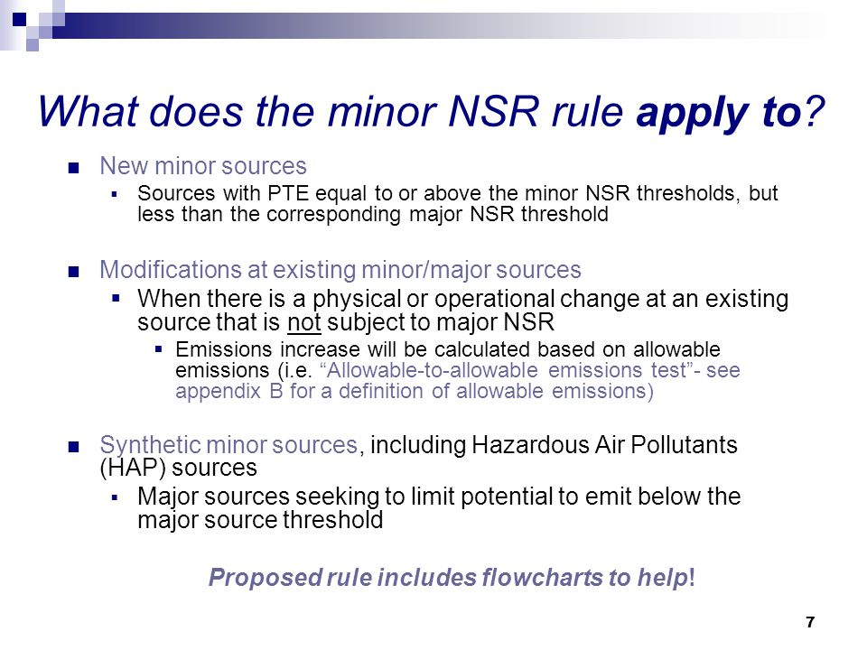 What does the minor NSR rule apply to