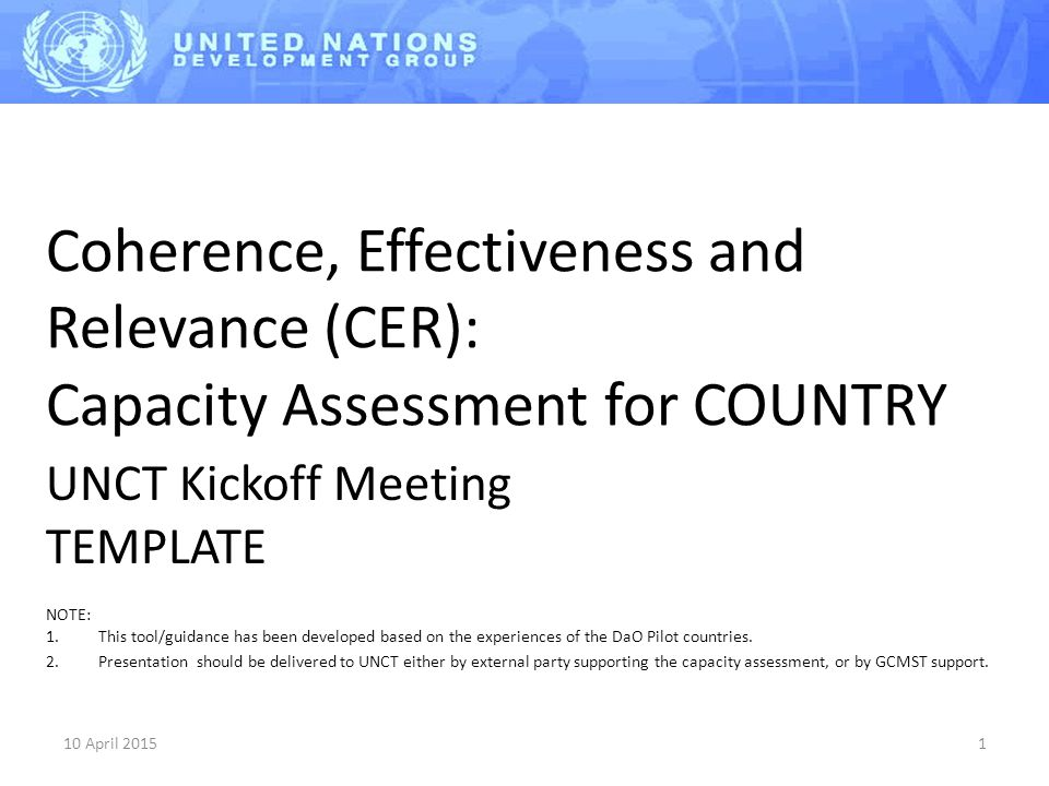 Coherence, Effectiveness and Relevance (CER): Capacity Assessment for COUNTRY