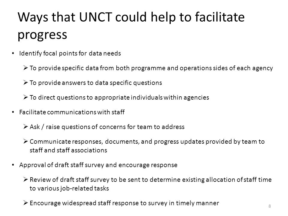Ways that UNCT could help to facilitate progress