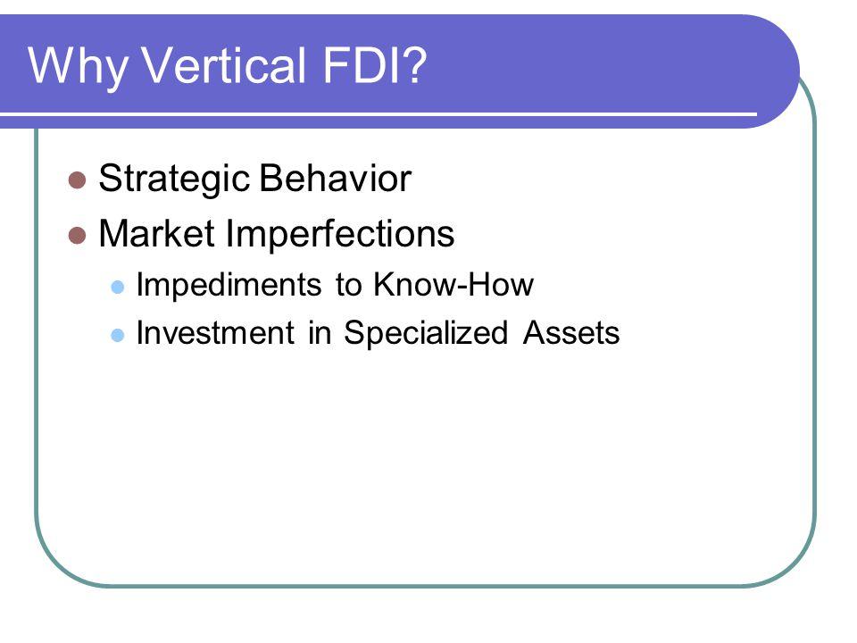 Why Vertical FDI Strategic Behavior Market Imperfections