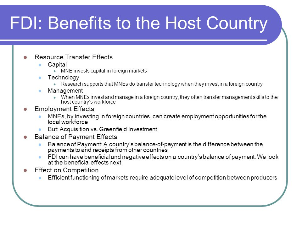 FDI: Benefits to the Host Country