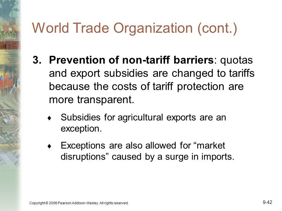World Trade Organization (cont.)
