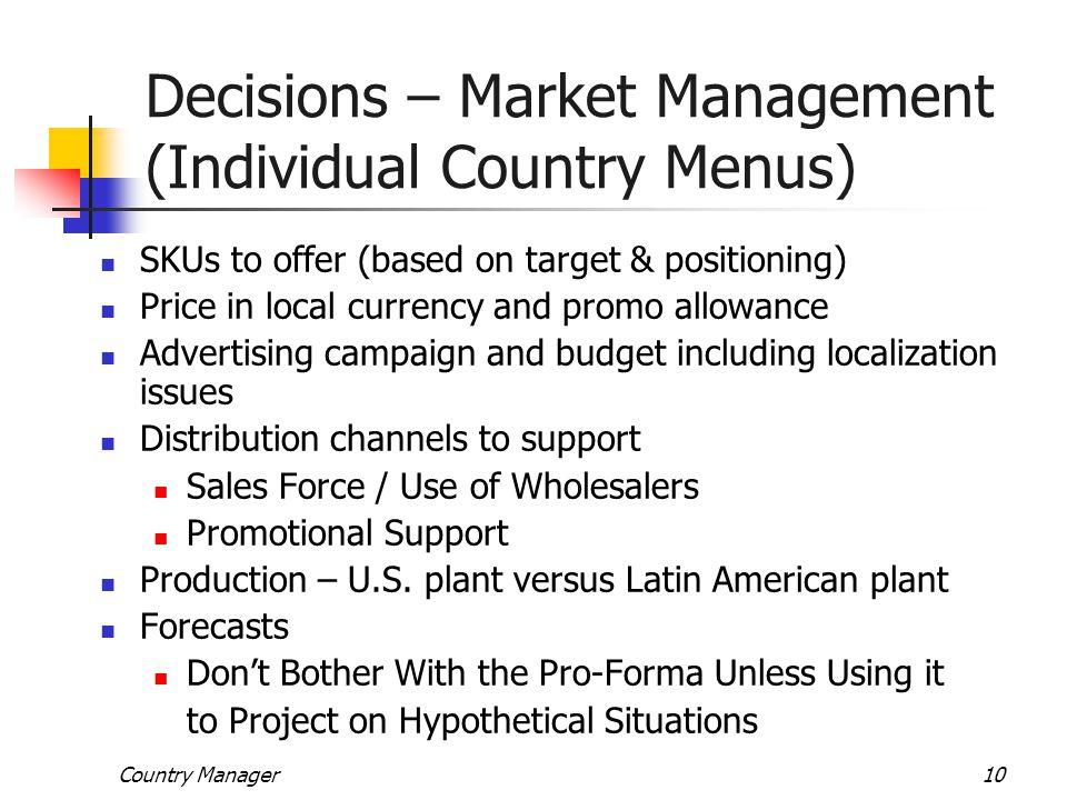 Decisions – Market Management (Individual Country Menus)