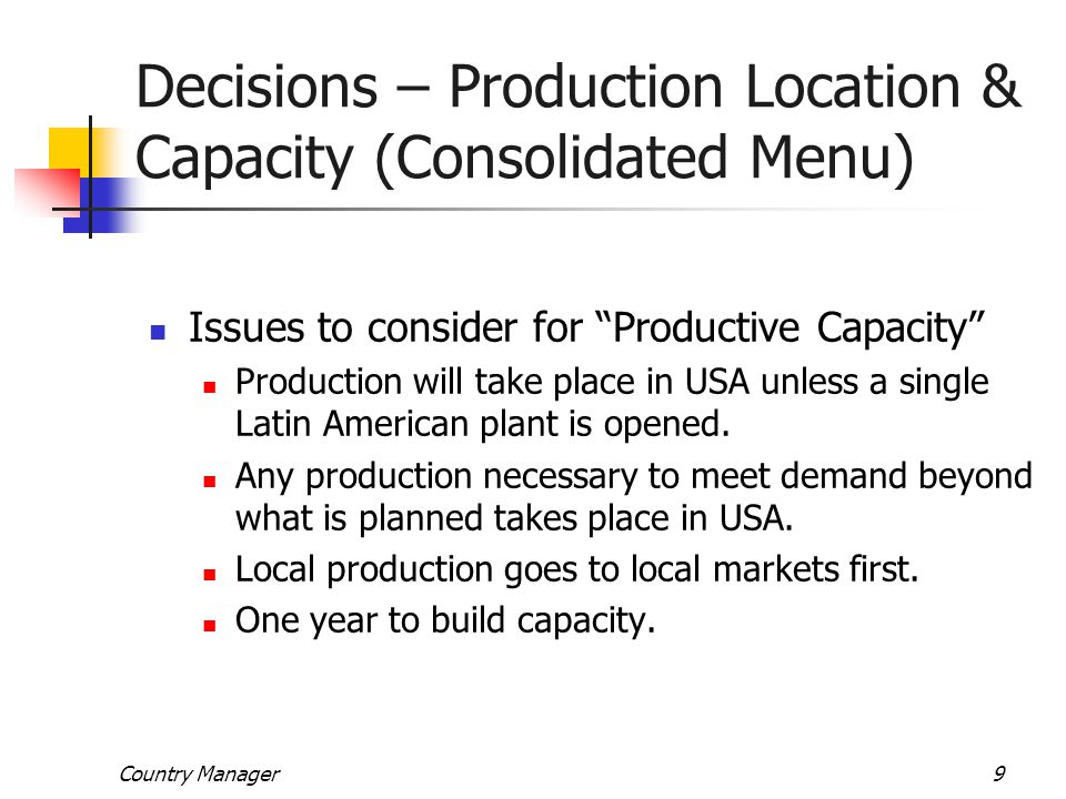 Decisions – Production Location & Capacity (Consolidated Menu)