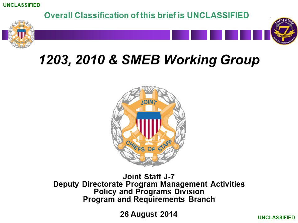 UNCLASSIFIED Overall Classification of this brief is UNCLASSIFIED. 1203, 2010 & SMEB Working Group.