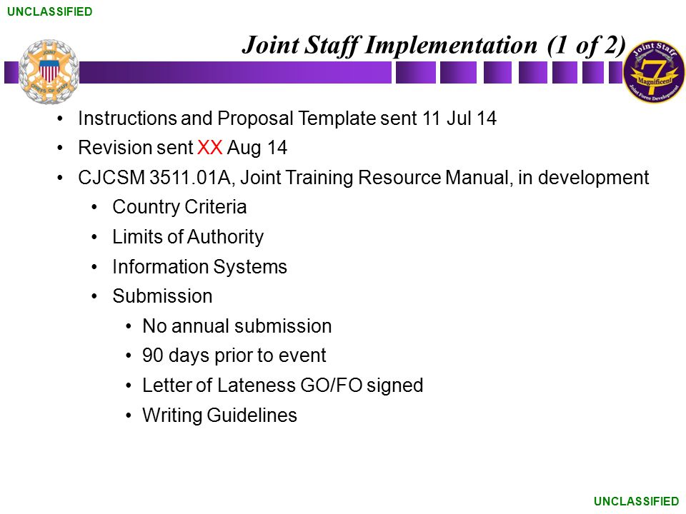 Joint Staff Implementation (1 of 2)