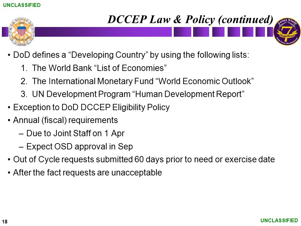 DCCEP Law & Policy (continued)