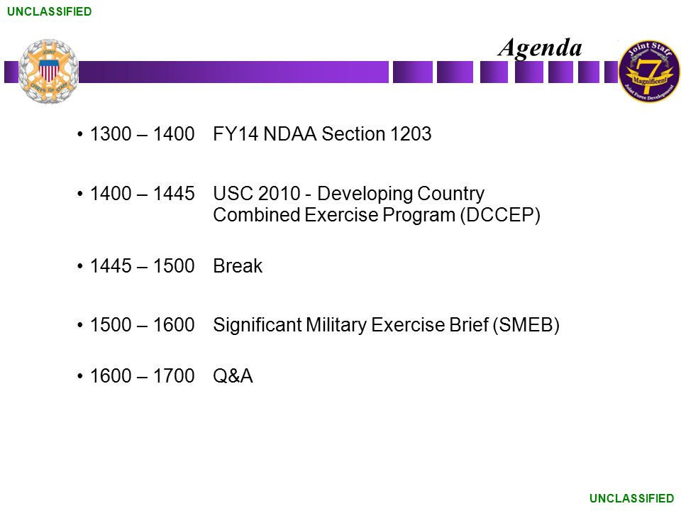 Agenda 1300 – 1400 FY14 NDAA Section 1203