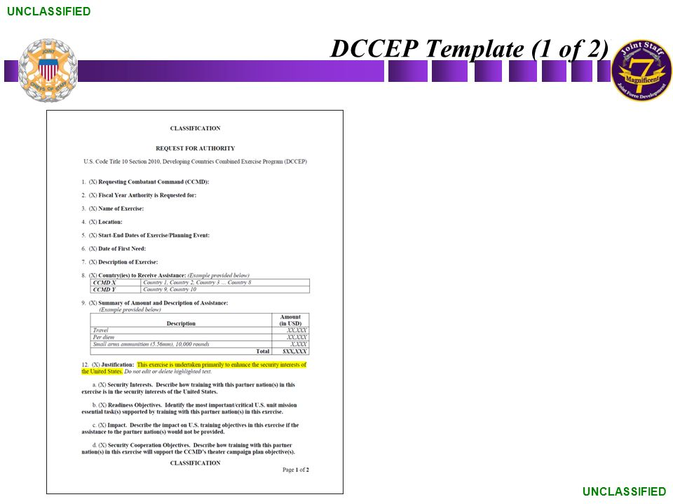 UNCLASSIFIED DCCEP Template (1 of 2) UNCLASSIFIED