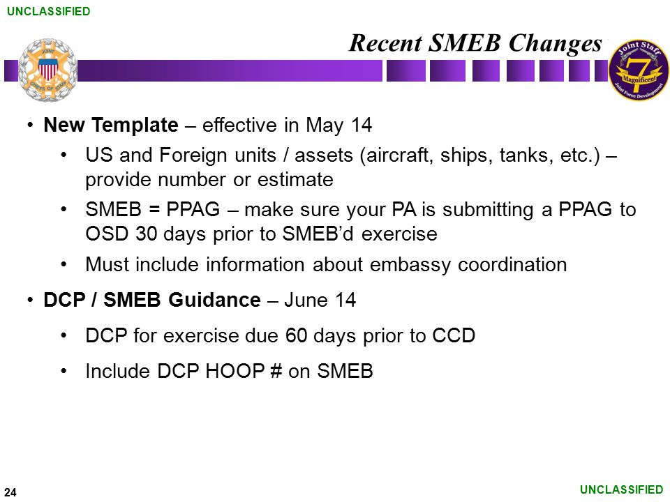 Recent SMEB Changes New Template – effective in May 14