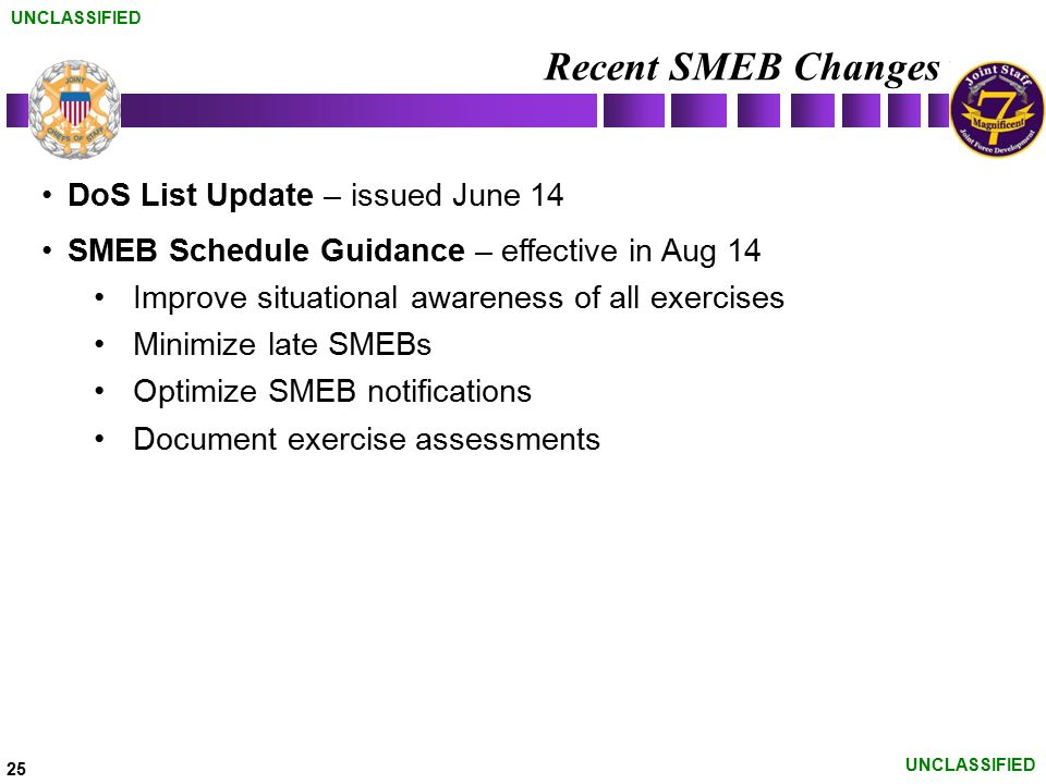 Recent SMEB Changes DoS List Update – issued June 14