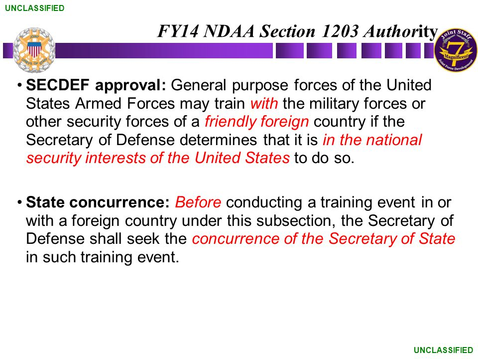 FY14 NDAA Section 1203 Authority