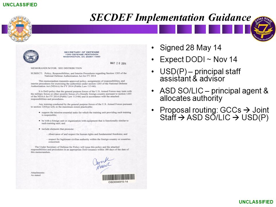 SECDEF Implementation Guidance