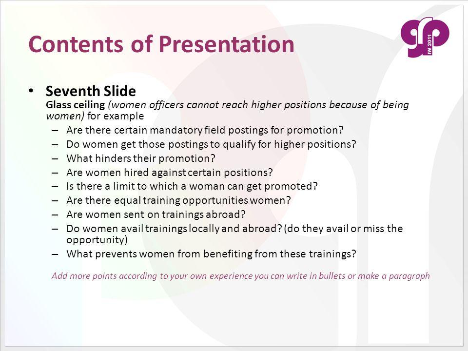 Contents of Presentation