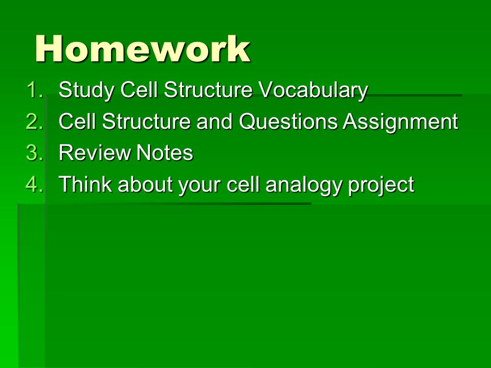 Homework Study Cell Structure Vocabulary