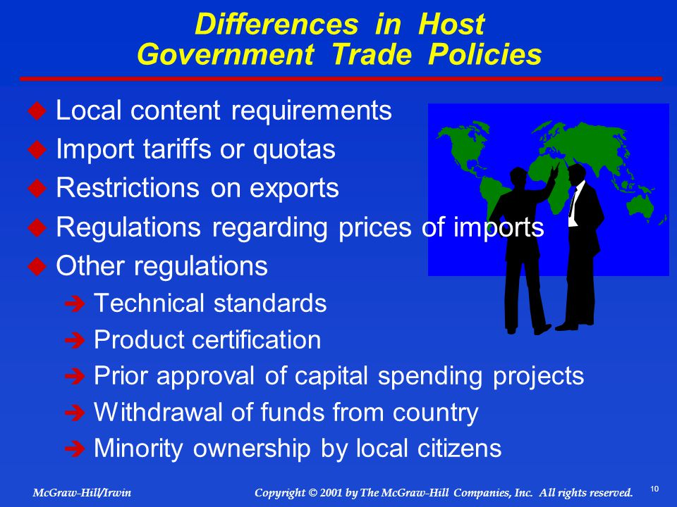 Differences in Host Government Trade Policies