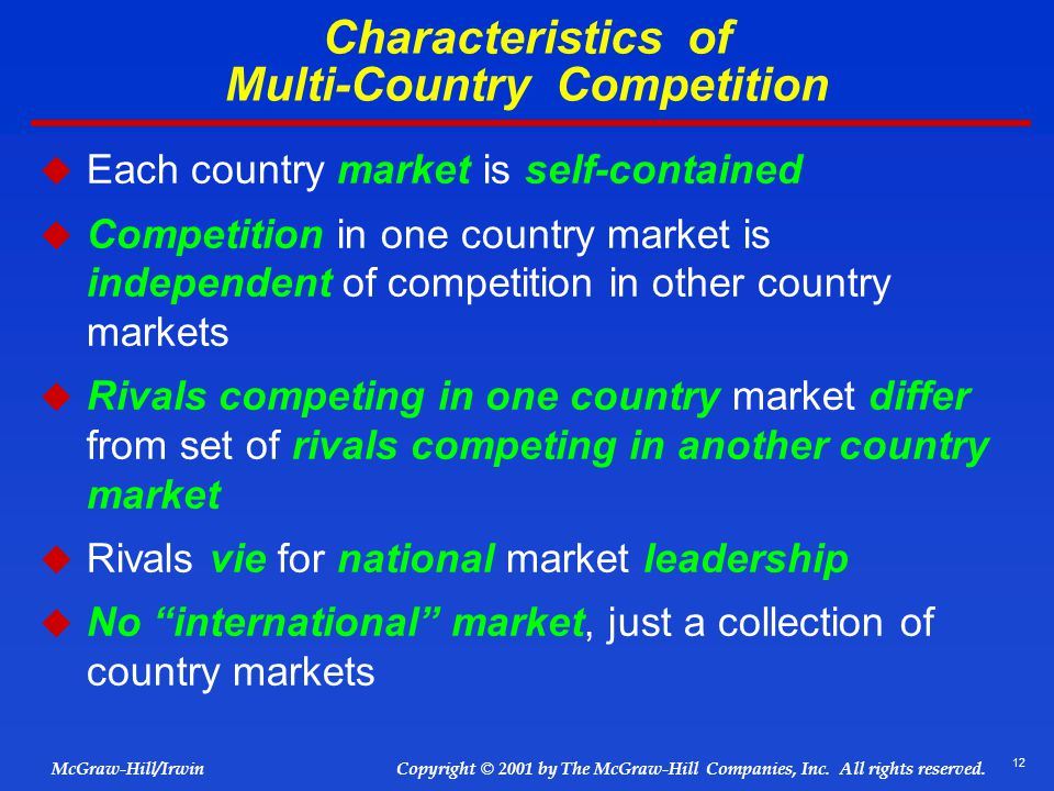 Characteristics of Multi-Country Competition