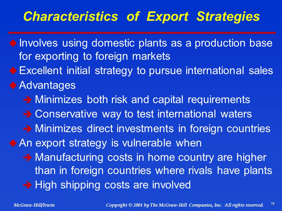 Characteristics of Export Strategies