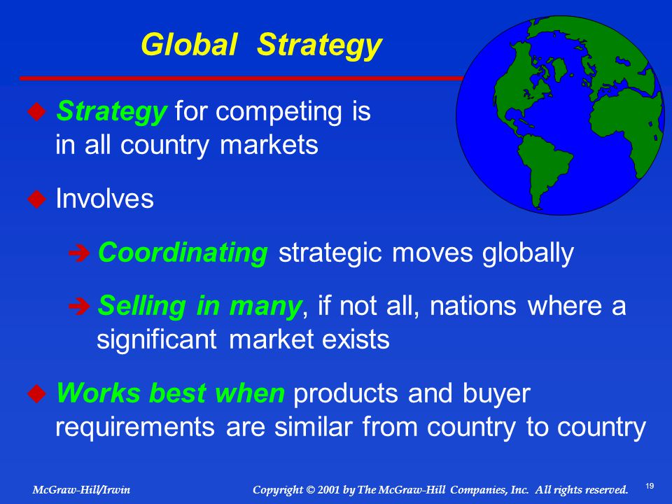 Global Strategy Strategy for competing is similar in all country markets. Involves.
