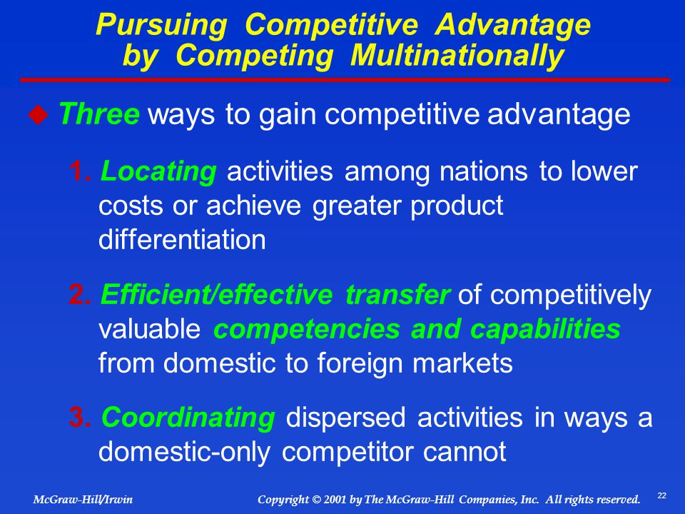 Pursuing Competitive Advantage by Competing Multinationally