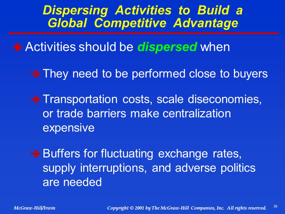 Dispersing Activities to Build a Global Competitive Advantage