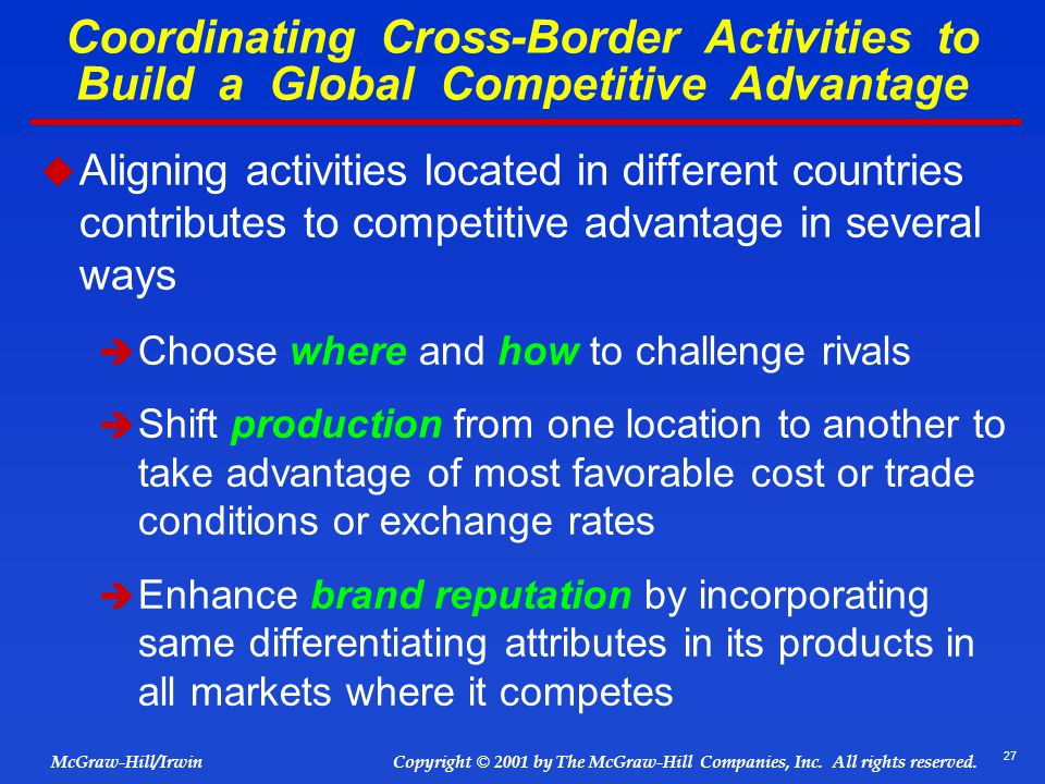 Coordinating Cross-Border Activities to Build a Global Competitive Advantage