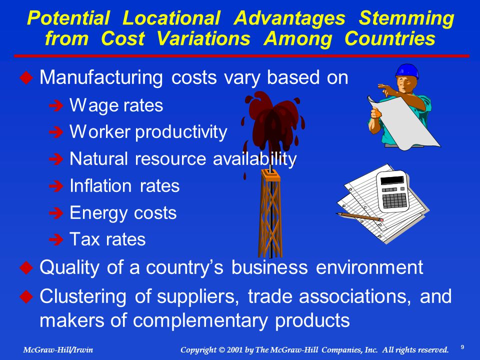 Manufacturing costs vary based on