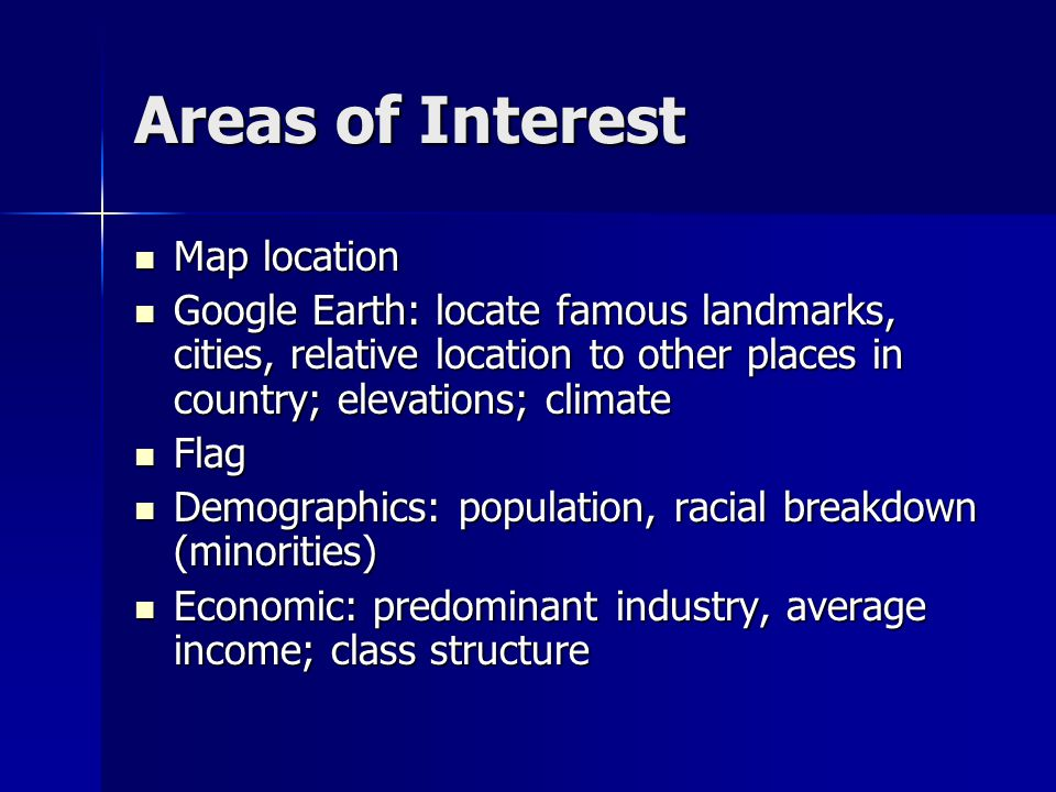 Areas of Interest Map location