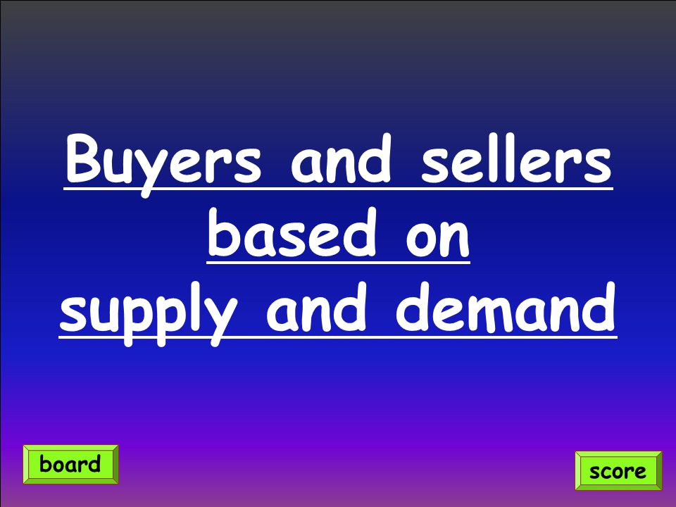 Buyers and sellers based on supply and demand
