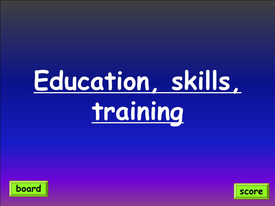 Education, skills, training