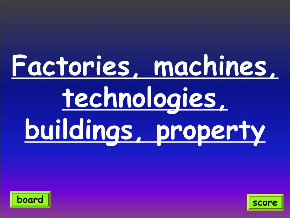 Factories, machines, technologies, buildings, property