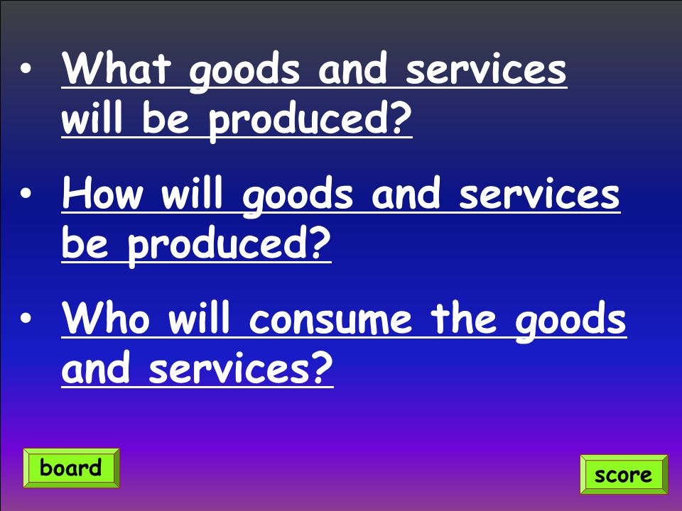 What goods and services will be produced