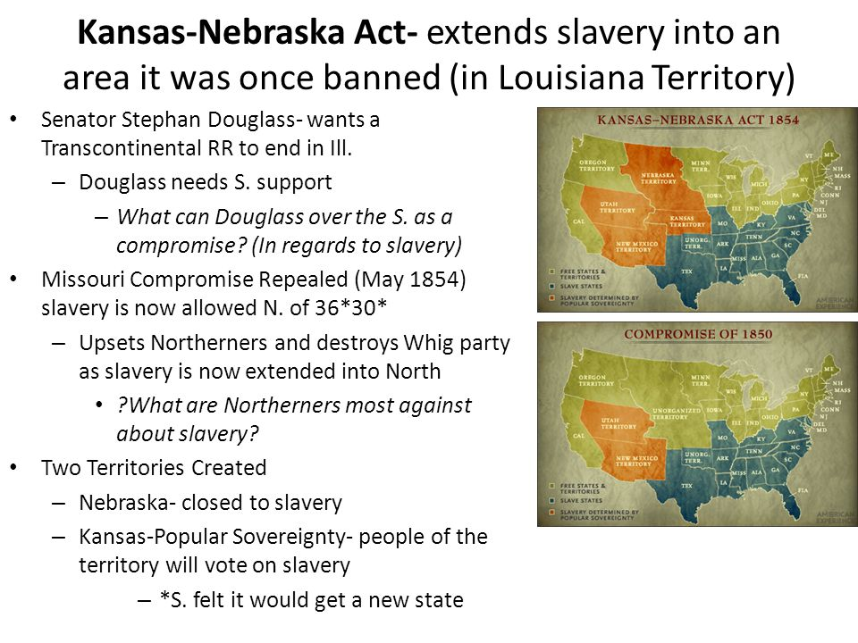Kansas-Nebraska Act- extends slavery into an area it was once banned (in Louisiana Territory)