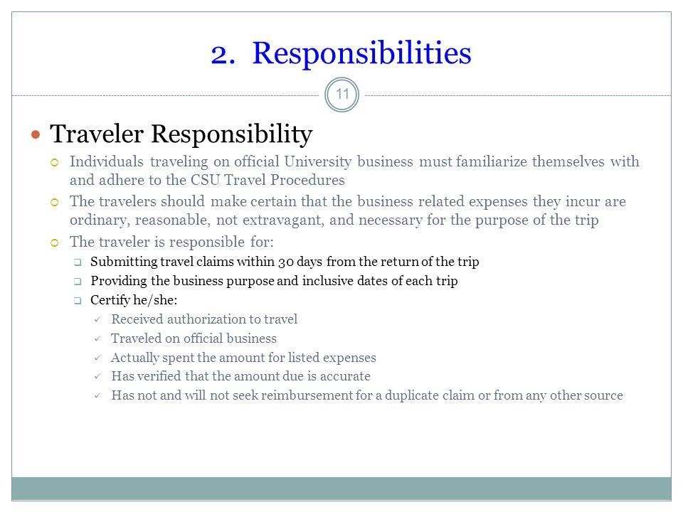 2. Responsibilities Traveler Responsibility