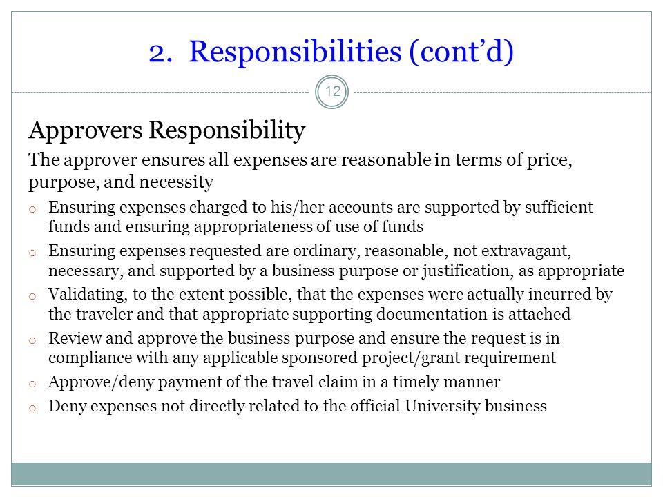 2. Responsibilities (cont'd)