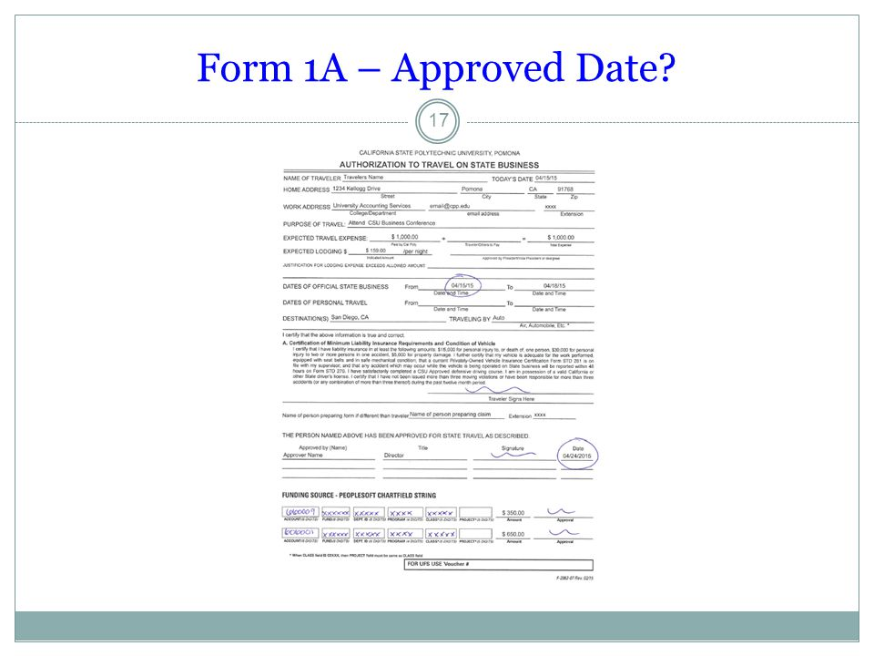 Form 1A – Approved Date