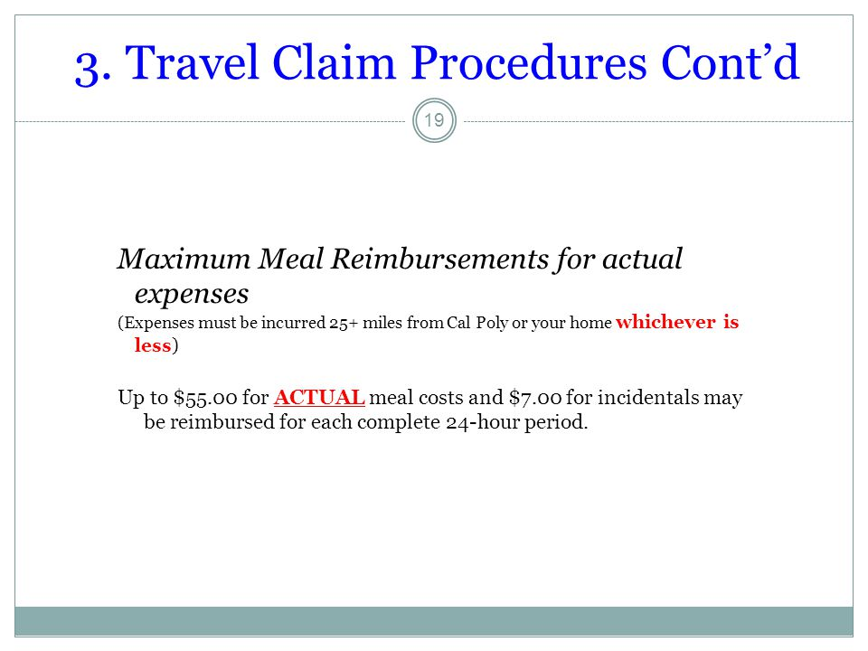 3. Travel Claim Procedures Cont'd
