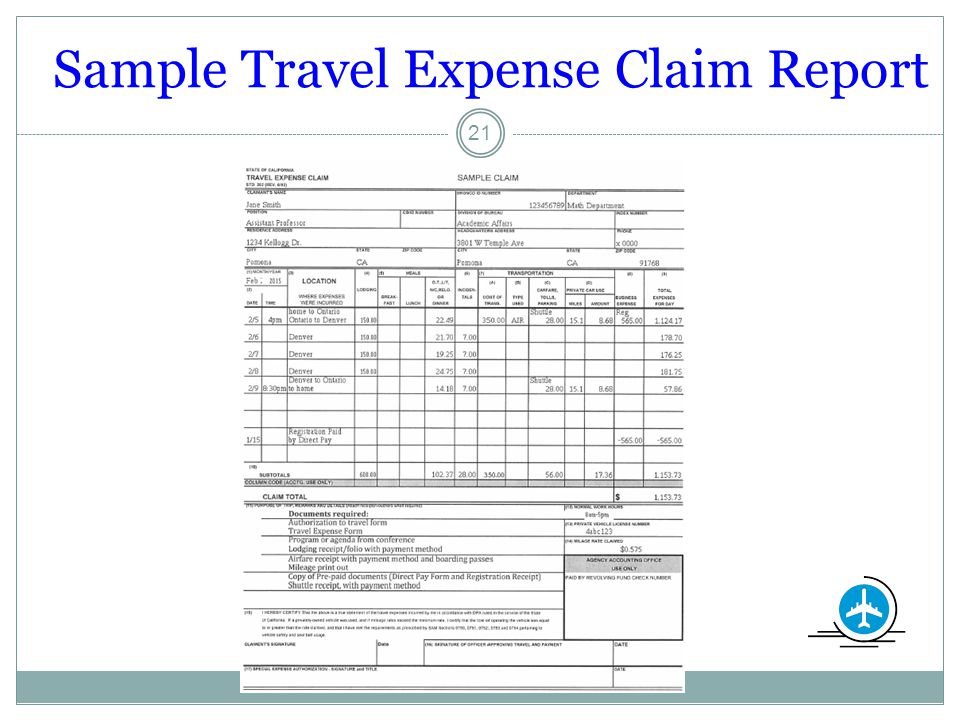 Sample Travel Expense Claim Report