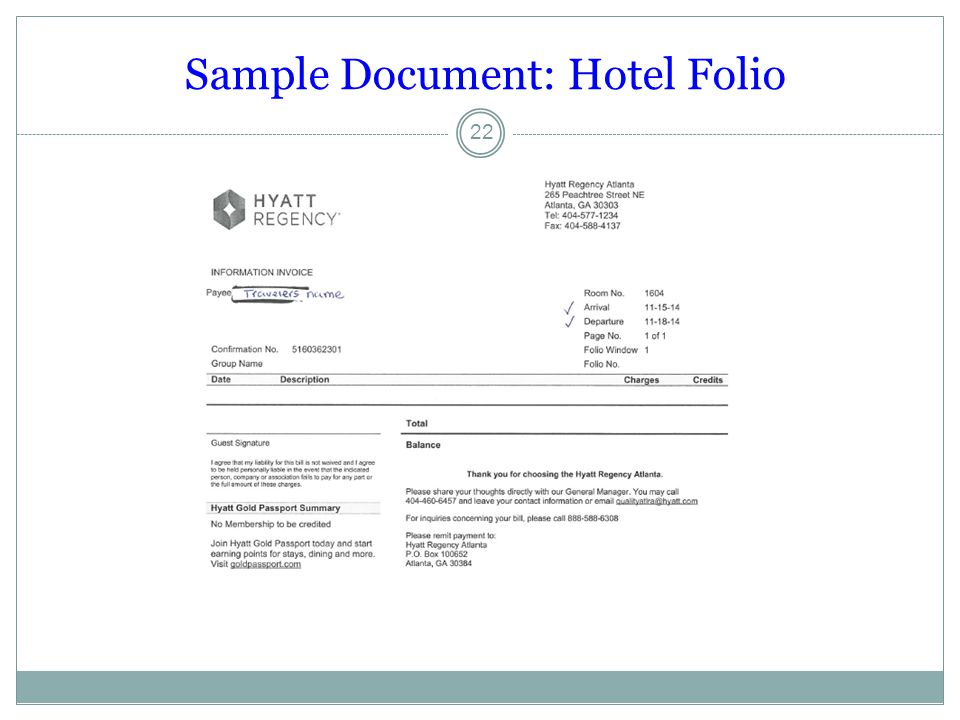 Sample Document: Hotel Folio